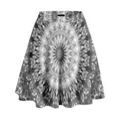 Feeling Softly Black White Mandala High Waist Skirt by designworld65