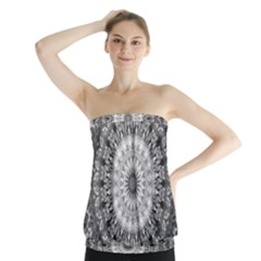 Feeling Softly Black White Mandala Strapless Top by designworld65