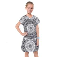 Feeling Softly Black White Mandala Kids  Drop Waist Dress by designworld65