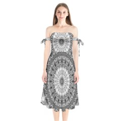 Feeling Softly Black White Mandala Shoulder Tie Bardot Midi Dress by designworld65