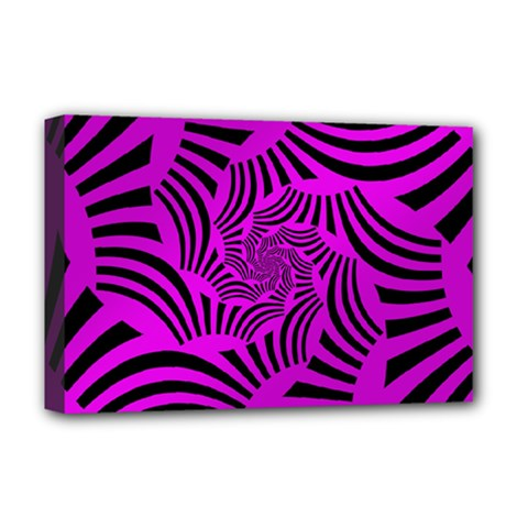 Black Spral Stripes Pink Deluxe Canvas 18  X 12   by designworld65