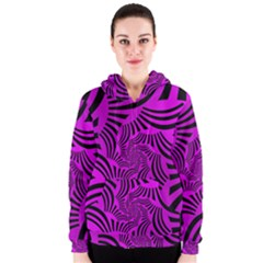 Black Spral Stripes Pink Women s Zipper Hoodie