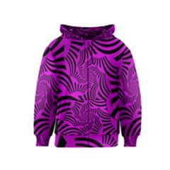 Black Spral Stripes Pink Kids  Zipper Hoodie by designworld65