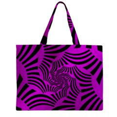 Black Spral Stripes Pink Zipper Mini Tote Bag by designworld65