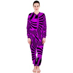 Black Spral Stripes Pink Onepiece Jumpsuit (ladies)  by designworld65