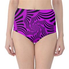 Black Spral Stripes Pink High Waist Bikini Bottoms by designworld65