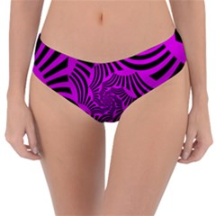 Black Spral Stripes Pink Reversible Classic Bikini Bottoms by designworld65