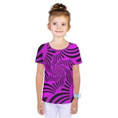 Black Spral Stripes Pink Kids  One Piece Tee by designworld65