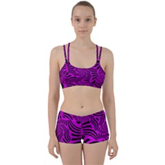 Black Spral Stripes Pink Women s Sports Set by designworld65