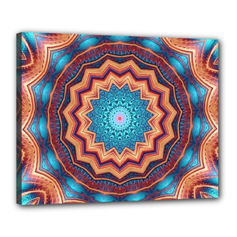 Blue Feather Mandala Canvas 20  X 16  by designworld65
