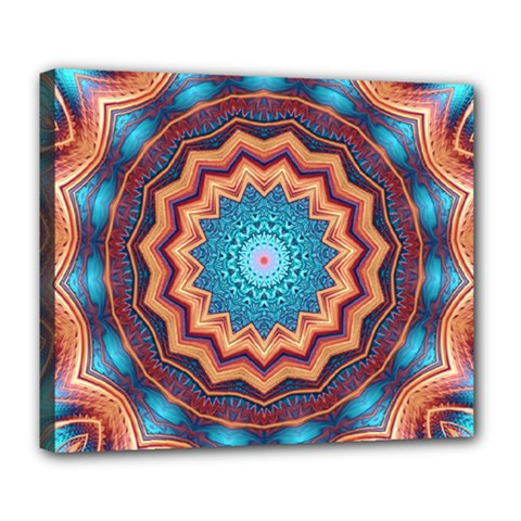 Blue Feather Mandala Deluxe Canvas 24  X 20   by designworld65