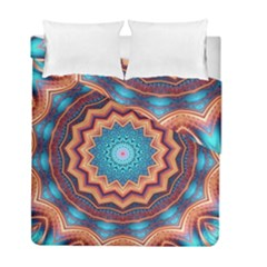 Blue Feather Mandala Duvet Cover Double Side (full/ Double Size)
