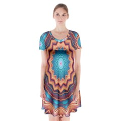 Blue Feather Mandala Short Sleeve V Neck Flare Dress