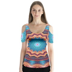 Blue Feather Mandala Butterfly Sleeve Cutout Tee