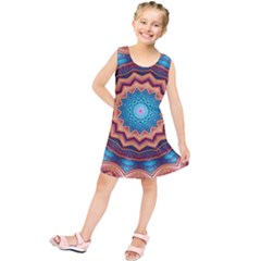 Blue Feather Mandala Kids  Tunic Dress by designworld65