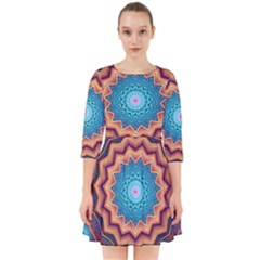 Blue Feather Mandala Smock Dress by designworld65