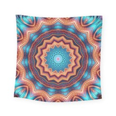 Blue Feather Mandala Square Tapestry (small)