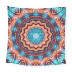 Blue Feather Mandala Square Tapestry (large)