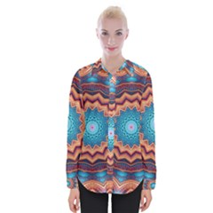 Blue Feather Mandala Womens Long Sleeve Shirt