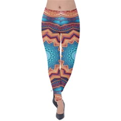 Blue Feather Mandala Velvet Leggings