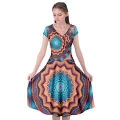Blue Feather Mandala Cap Sleeve Wrap Front Dress