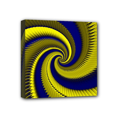 Blue Gold Dragon Spiral Mini Canvas 4  X 4  by designworld65