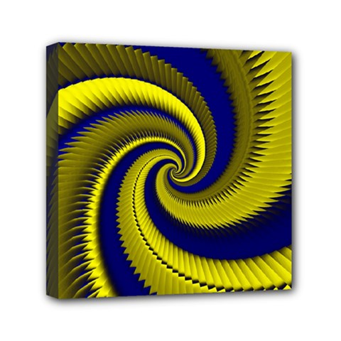 Blue Gold Dragon Spiral Mini Canvas 6  X 6  by designworld65