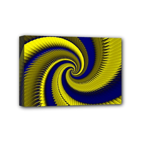 Blue Gold Dragon Spiral Mini Canvas 6  X 4