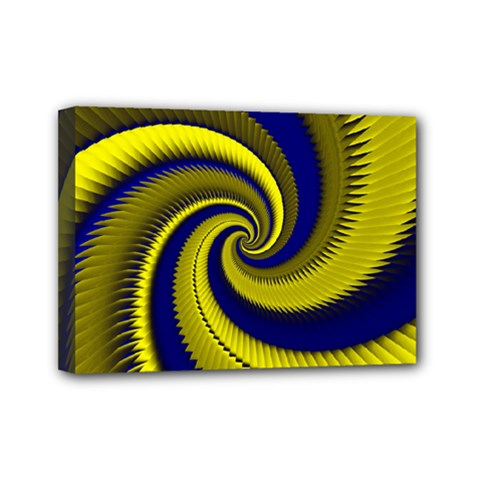 Blue Gold Dragon Spiral Mini Canvas 7  X 5