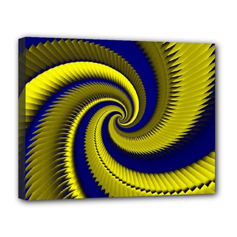 Blue Gold Dragon Spiral Canvas 14  X 11  by designworld65