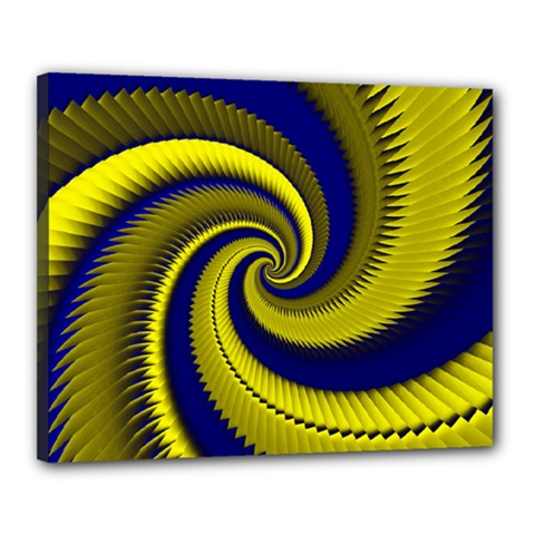 Blue Gold Dragon Spiral Canvas 20  X 16  by designworld65