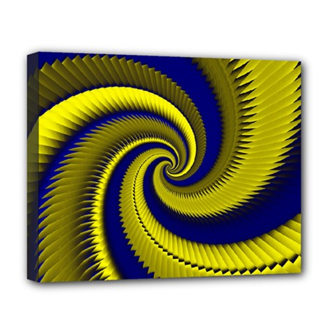 Blue Gold Dragon Spiral Deluxe Canvas 20  X 16   by designworld65