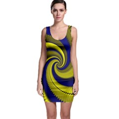 Blue Gold Dragon Spiral Bodycon Dress