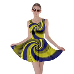 Blue Gold Dragon Spiral Skater Dress