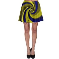 Blue Gold Dragon Spiral Skater Skirt