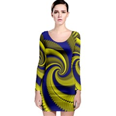 Blue Gold Dragon Spiral Long Sleeve Bodycon Dress by designworld65