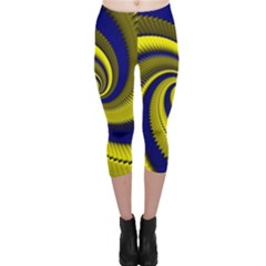 Blue Gold Dragon Spiral Capri Leggings