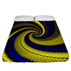Blue Gold Dragon Spiral Fitted Sheet (queen Size)