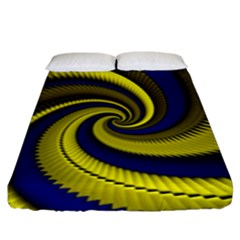 Blue Gold Dragon Spiral Fitted Sheet (king Size)