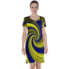 Blue Gold Dragon Spiral Short Sleeve Nightdress