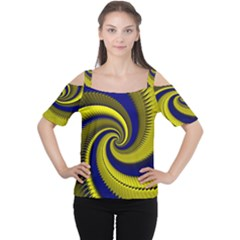 Blue Gold Dragon Spiral Cutout Shoulder Tee