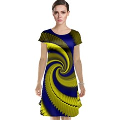 Blue Gold Dragon Spiral Cap Sleeve Nightdress