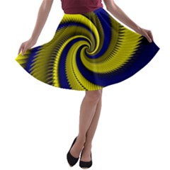 Blue Gold Dragon Spiral A Line Skater Skirt