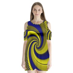 Blue Gold Dragon Spiral Shoulder Cutout Velvet  One Piece