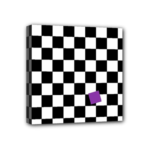 Dropout Purple Check Mini Canvas 4  X 4  by designworld65