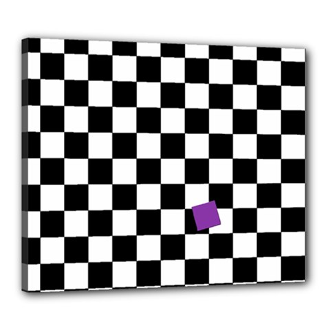 Dropout Purple Check Canvas 24  X 20  by designworld65