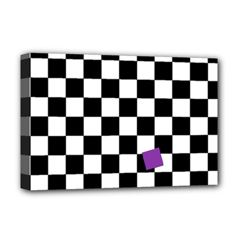 Dropout Purple Check Deluxe Canvas 18  X 12   by designworld65