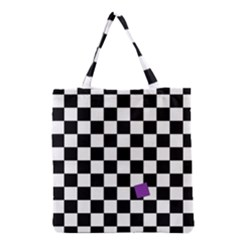 Dropout Purple Check Grocery Tote Bag by designworld65