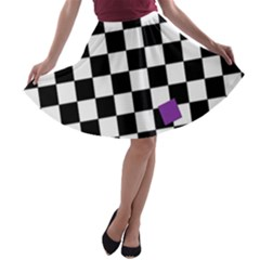 Dropout Purple Check A Line Skater Skirt by designworld65