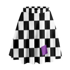 Dropout Purple Check High Waist Skirt by designworld65